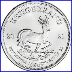 2021 South Africa Silver Krugerrand 1 oz 1 Rand 100 BU Coins in 4 Mint Tubes