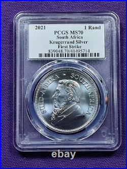 2021 South Africa Silver Krugerrand 1 oz 1 Rand MS70 PCGS First Strike