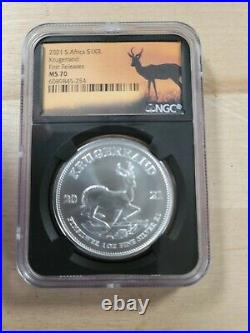 2021 south africa 1 oz silver krugerrand MS70 First Release