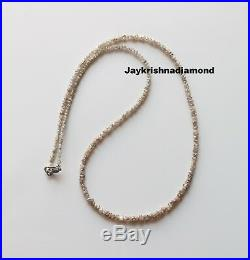 20.09 cts 2-3 MM Natural Light Brown Rough Diamond Beads 16 Strand Silver Lock