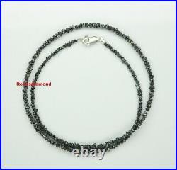 20.11 ct Jet Black Raw Rough Diamond 16 Inch Strand Silver Clasp Necklace