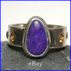 25 Ct Tw Natural Purple Sugilite Pave Set Mandarin Garnet Sterling Silver Ring