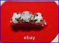 2.05CTS Gray White Rough Diamond Wedding Ring, Uncut Raw Diamond silver Ring