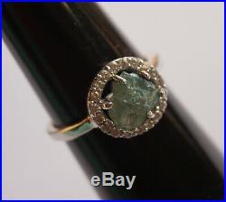 2.12CTS Blue Rough Diamond Hallo Ring, Blue Uncut Raw Diamond 925 silver Ring