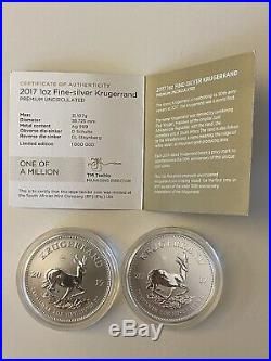 2 x 1 oz 2017 Silver Krugerrand 50th Anniversary Prem Uncirculated Coins + COA