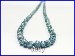35.00 Ct Natural Blue Color Rough Diamond Beads! Diamond Beads Wt Silver Claps