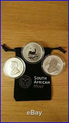 3 x Krugerrand 2017 50th anniversary silver Premium coin COA and capsule + pouch