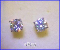 4.5mm. 7Ctw. G Color VVS1 Genuine Natural Diamond Stud Earrings Silver ScrewBack