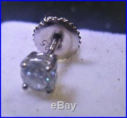 4mm. 25Ct. G Color VVS1 SINGLE Natural Diamond Stud Earring Silver screw back