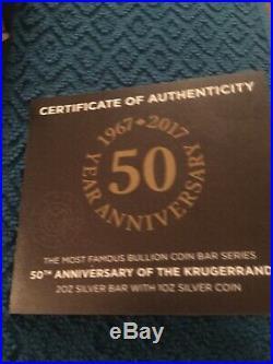 50th ANNIVERSARY KRUGERRAND 2017 SOUTH AFRICA 3 OZ 999 SILVER COIN BAR 1 oz 2 oz