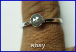 5.0mm Black Gray Rose Cut Bezel Set Diamond Ring, 925 silver Engagement ring