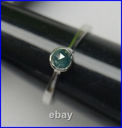 5.0mm Blue Round Rose Cut Bezel Set Diamond Ring, 925 silver Engagement ring