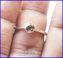 5.0mm Cognac Brown Rose Cut Bezel Set Diamond Ring, 925 silver Engagement ring
