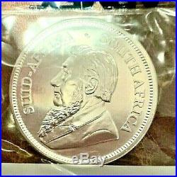 5- B. U. 2020 South African 1.00 Troy oz. 999 Silver Krugerrand Sealed In Plastic