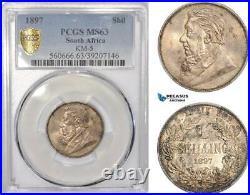 AF205, South Africa (ZAR) 1 Shilling 1897, Pretoria, Silver, PCGS MS63