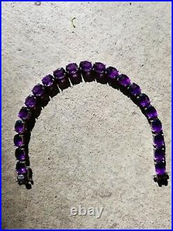 African Amethyst 8x6mm Oval Gemstone Tennis Bracelet, 925 Sterling Silver, 7.5