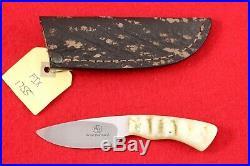 Arno Bernard Jr. Custom Gecko Fixed Blade Knife, Dahl Sheep Horn Handle, Mint
