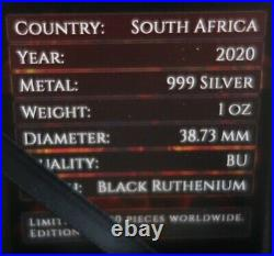 BIG FIVE LEOPARD 1 Oz SILBER 2020 SILVER Unze SÜDAFRIKA 5 Rand RUTHENIUM Etui