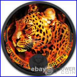BURNING LEOPARD Big Five 1 Oz Silver Coin 5 Rand South Africa 2020