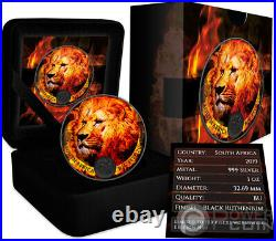 BURNING LION Ruthenium Big Five 1 Oz Silver Coin 5 Rand South Africa 2019