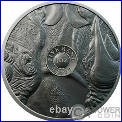 BURNING RHINO Ruthenium Big Five 1 Oz Silver Coin 5 Rand South Africa 2020