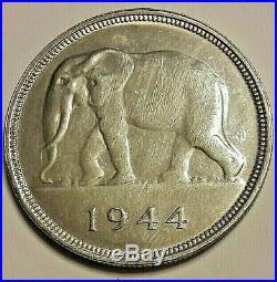 == Belgisch Congo 50 Francs Congo belge 1944 Éléphant Argent KM# 27 === Rare