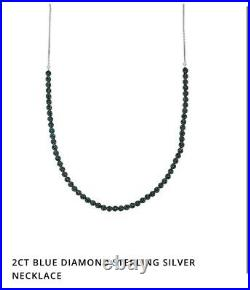Blue Diamond 2ct Sterling Silver Necklace by Gemporia