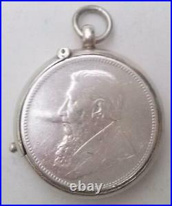 Boer War Silver Coin Holder Trench Art South Africa 1895 Half Crown Inset