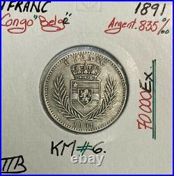 CONGO BELGE 1 FRANC 1891 Pièce de Monnaie en Argent // Qualité TTB