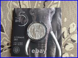 ELEPHANT SOUTH AFRICA BIG FIVE 2019 5 Rand 1 oz BU Silver Coin