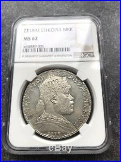 ETHIOPIA silver Birr EE1892 (1900) KM 19 NGC MS62 was sold as PROOF very RARE