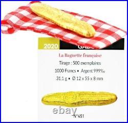 Gabon 1000 Francs Baguette Once Argent Doré Or fin 2020