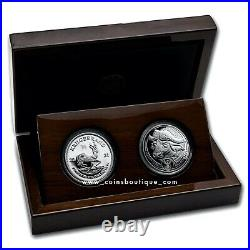 Krugerrand and Buffalo 2 silver proof coin set South Africa 2021