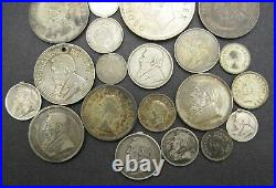 LOT OF 20 x SOUTH AFRICA SILVER COINS 3D, 6D, SHILLING / 2.5 / CROWN 1892 ON
