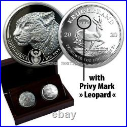 Leopard and Krugerrand proof silver coins set South Africa 2020
