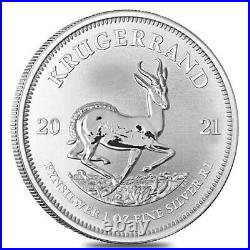 Lot of 100 2021 South Africa 1 oz Silver Krugerrand BU (4 Tube, Lot of 25)