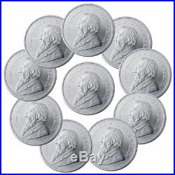 Lot of 10 2018 South Africa 1 oz Silver Krugerrand R1 Coins GEM BU SKU54744
