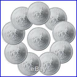 Lot of 10 2019 South Africa 1 oz Silver Krugerrand 1 Coins GEM BU SKU56937