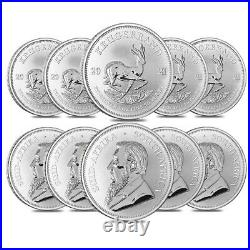 Lot of 10 2021 South Africa 1 oz Silver Krugerrand BU