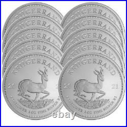 Lot of 10 2021 South Africa Silver Krugerrand 1 oz Brilliant Uncirculated