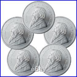 Lot of 5 2019 South Africa 1 oz Silver Krugerrand 1 Coins GEM BU SKU56936