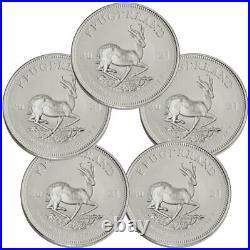 Lot of 5 2021 South Africa 1 oz Silver Krugerrand R1 Coins GEM BU