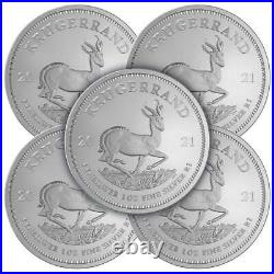 Lot of 5 2021 South Africa Silver Krugerrand 1 oz Brilliant Uncirculated