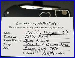 Meades Mini Dino Custom Knife, 3.625. Black Micarta. Silver Twill FC skeletons