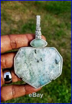 Messina, South Africa, Papagoite And Ajoite Streling Silver Wrapped Pendant