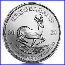 Monster Box of 500 2020 South Africa 1 oz Silver Krugerrand BU 20 Roll, Tube
