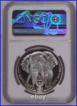 Ngc Pf69 2019 1 Oz South Africa Big Five Elephant. 999 Silver Proof Coin