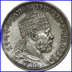 O733 Scarce Ethiopie Menelik II 1889-1913 1/4 Birr EE1889 A 1897 Argent Silver