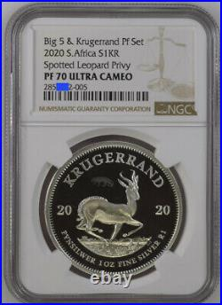 Presale 2020 SILVER KRUGERRAND LEOPARD PRIVY PF 70 ngc PROOF south africa BIG 5