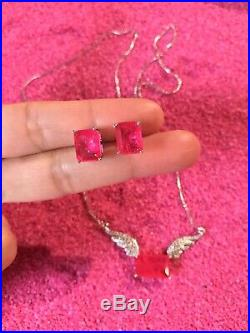 Princess Angel Wings Natural Pink Ruby Necklace Earrings Jewelry Set 925 Silver